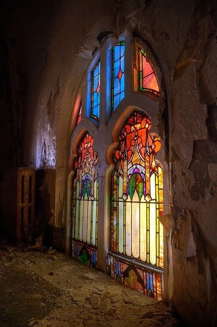 imm  fr stained glass in abandoned church MIchigan