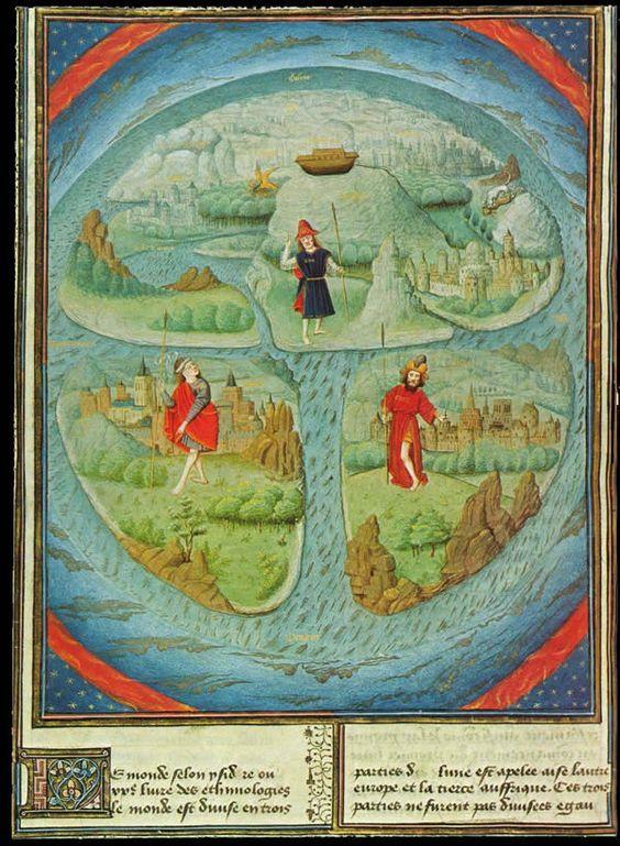 imm fr MAPPA MUNDI in JEAN MANSEL La Fleur des Histoires. Valenciennes, 1459-1463,