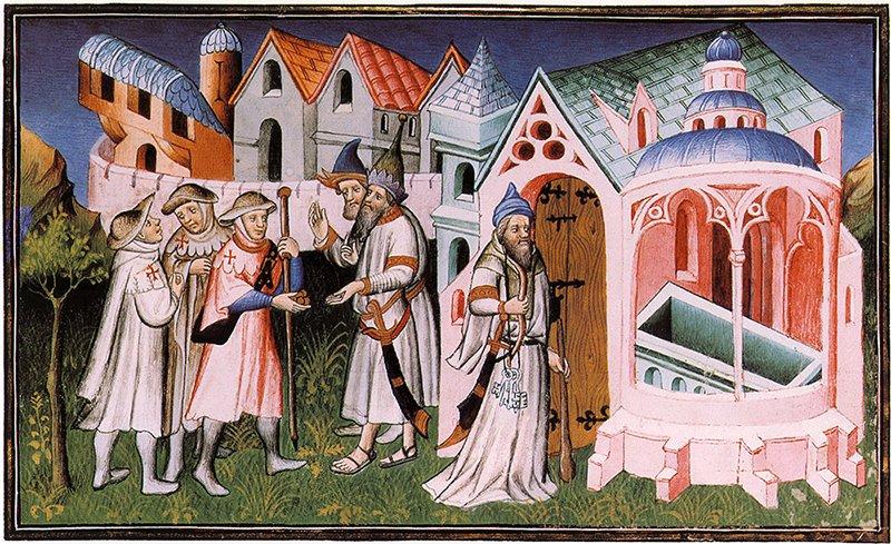 pellegrini cristiani entrano nel santo sepolcro